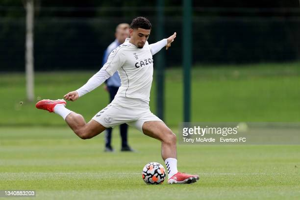 Ben Godfrey during the Everton Training Session at USM Finch Farm on September 16 2021 in Halewood, England.