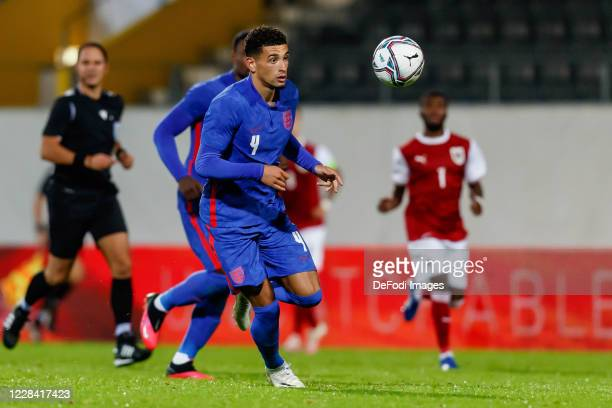 Ben Godfrey of England controls the ball during the UEFA Euro Under 21 Qualifier match between Austria U21 and England U21 at Keine Sorgen Arena on...