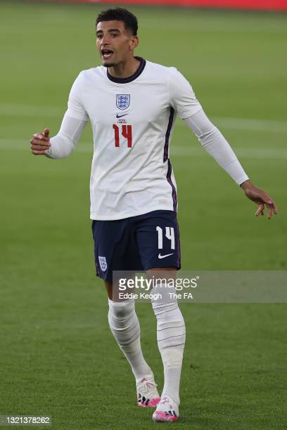Ben Godfrey of England looks on during the international friendly match between England and Austria at Riverside Stadium on June 02, 2021 in...