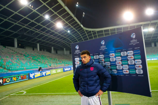 Ben Godfrey of England talks to the media following the 2021 UEFA European Under-21 Championship Group D match between Portugal and England at...