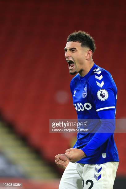 Ben Godfrey of Everton celebrates their victory during the Premier League match between Sheffield United and Everton at Bramall Lane on December 26,...