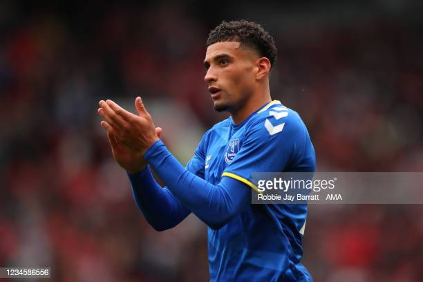 Ben Godfrey of Everton during the Pre Season Friendly fixture between Manchester United and Everton at Old Trafford on August 7, 2021 in Manchester,...
