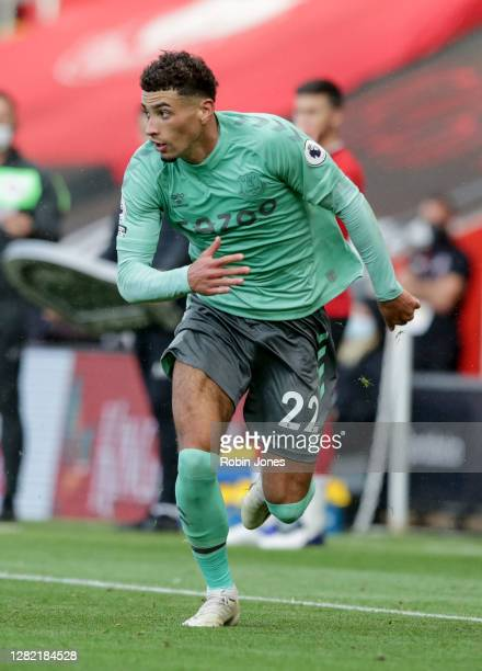 Ben Godfrey of Everton during the Premier League match between Southampton and Everton at St Mary's Stadium on October 25 2020 in Southampton England...