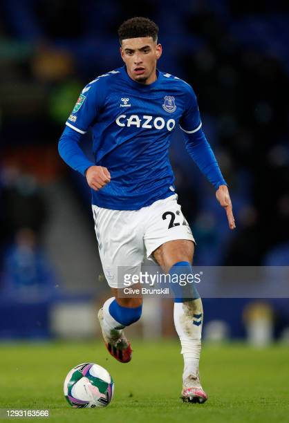 Ben Godfrey of Everton in action during the Carabao Cup Quarter Final match between Everton and Manchester United at Goodison Park on December 23,...