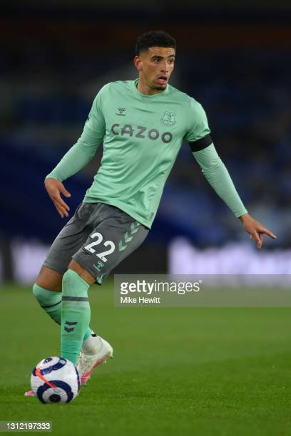 Ben Godfrey of Everton in action during the Premier League match between Brighton & Hove Albion and Everton at American Express Community Stadium on...