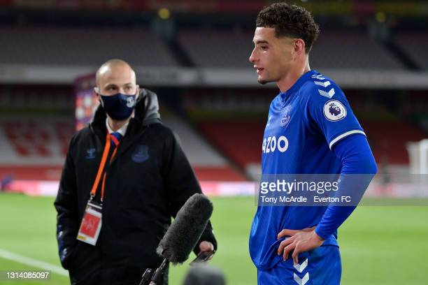 Ben Godfrey of Everton speaks to the media after the Premier League match between Arsenal v Everton at Emirates Stadium on April 23, 2021 in London,...