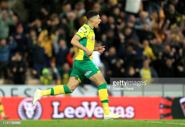 Ben Godfrey of Norwich City celebrates after scoring his team's first goal during the Sky Bet Championship match between Norwich City and Reading at...