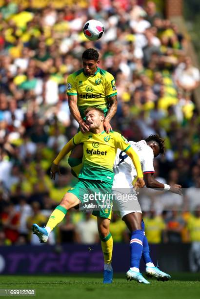 Ben Godfrey of Norwich City heads the ball during the Premier League match between Norwich City and Chelsea FC at Carrow Road on August 24, 2019 in...