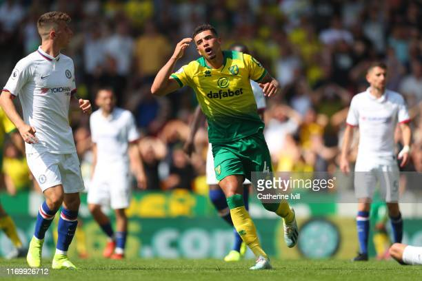 Ben Godfrey of Norwich City reacts after missing a chance during the Premier League match between Norwich City and Chelsea FC at Carrow Road on...