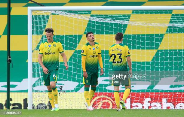 Ben Godfrey of Norwich City reacts after scoring an own goal, Burnley's second goal during the Premier League match between Norwich City and Burnley...