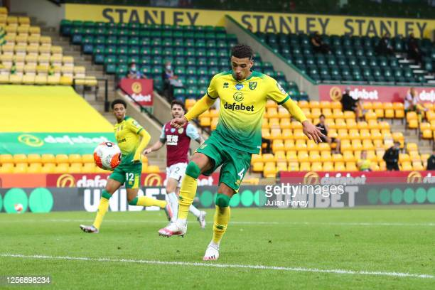 Ben Godfrey of Norwich City scores an own goal, Burnley's second goal during the Premier League match between Norwich City and Burnley FC at Carrow...