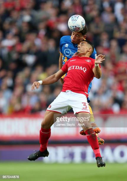 Ben Godfrey of Shrewsbury Town and Ahmed Kashi of Charlton Athletic during the Sky Bet League One Play Off Semi FinalFirst Leg between Charlton...