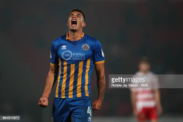 Ben Godfrey of Shrewsbury Town celebrates at full time during the Sky Bet League One match between Doncaster Rovers and Shrewsbury Town at Keepmoat...