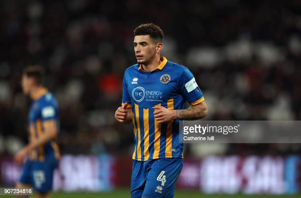 Ben Godfrey of Shrewsbury Town during the Emirates FA Cup Third Round Replay match between West Ham United and Shrewsbury Town at London Stadium on...