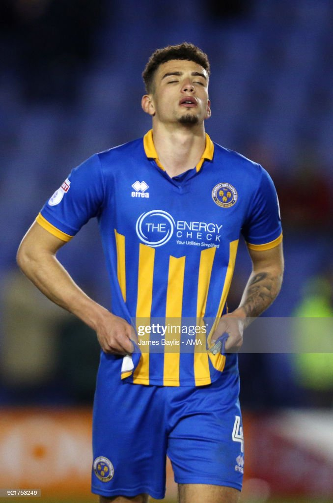 Ben Godfrey of Shrewsbury Town reacts at full time during the Sky Bet League One match between Shrewsbury Town and Gillingham at New Meadow on February 20, 2018 in Shrewsbury, England.