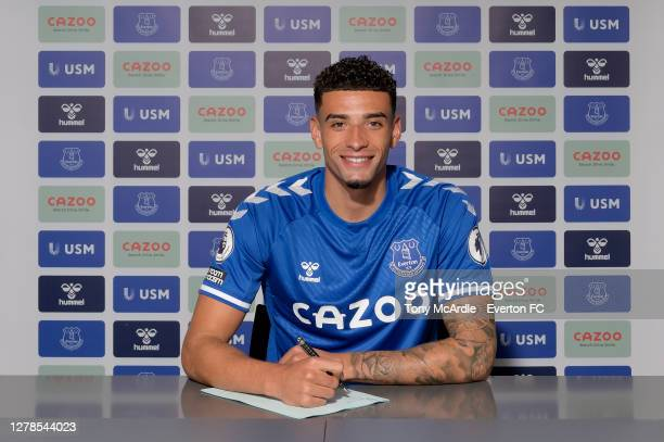 Ben Godfrey poses for a photo after signing for Everton at Goodison Park on October 3 2020 in Halewood, England.
