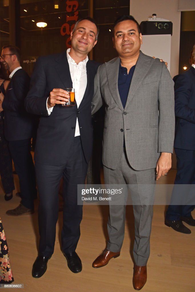 Ben Goldsmith (L) and Anshuman Mishra attend the Aeolian Islands Preservation Fund's inaugural fundraiser hosted by Ritorno at Phillips Gallery on October 12, 2017 in London, England.