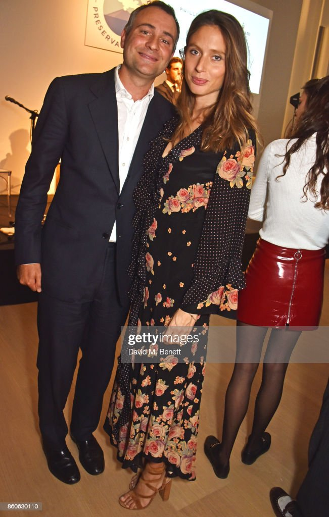 Ben Goldsmith (L) and Jemima Jones attend the Aeolian Islands Preservation Fund's inaugural fundraiser hosted by Ritorno at Phillips Gallery on October 12, 2017 in London, England.
