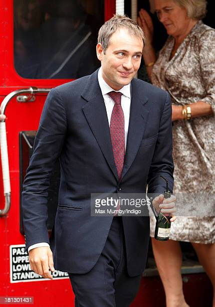 Ben Goldsmith arrives at Claridges Hotel on a Routemaster bus to attend the wedding reception for Alexander Fellowes and Alexandra Finlay following...