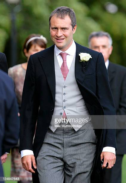 Ben Goldsmith attends the wedding of Ben Elliot and MaryClare Winwood at the church of St Peter and St Paul Northleach on September 10 2011 in...