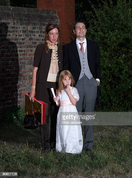 Ben Goldsmith Kate Goldsmith and Iris Goldsmith pose for a photograph as they arrive back from the wedding of Lord Fredrick Windsor and Sophie...
