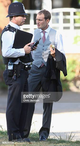 Ben Goldsmith talks to a policeman outside Lady Annabel Goldsmith's house Ormeley Lodge on September 12 2009 in Richmond upon Thames England Sophie...