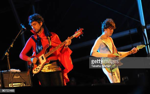 Ben Goldwasse and Andrew VanWyngarden of MGMT perform on the main stage on the first day of Bestival at Robin Hill Country Park on September 11 2009...