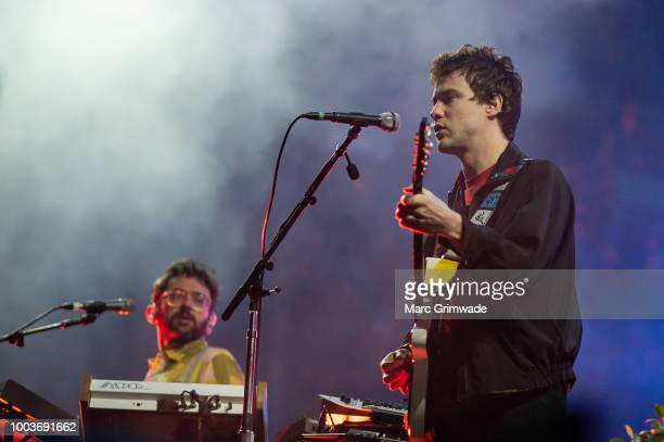 Ben Goldwasser and Andrew VanWyngarden from MGMT pwerforming at Splendour in the Grass 2018 on July 22 2018 in Byron Bay Australia