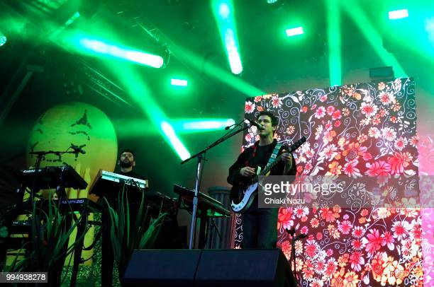 Ben Goldwasser and Andrew VanWyngarden of MGMT perform at Somerset House on July 9 2018 in London England