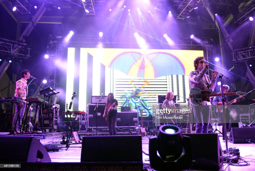 Ben Goldwasser (L) and Andrew VanWyngarden of MGMT perform during the Ultra Music Festival at Bayfront Park Amphitheater on March 28, 2014 in Miami, Florida.