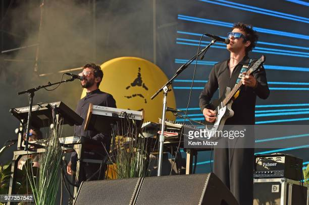 Ben Goldwasser and Andrew VanWyngarden of MGMT perform on the Firefly stage during the 2018 Firefly Music Festival on June 17 2018 in Dover Delaware
