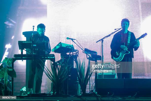 Ben Goldwasser and Andrew VanWyngarden of the MGMT performs at NOS Alive Festival 2018 on July 13 2018 in Lisbon Portugal