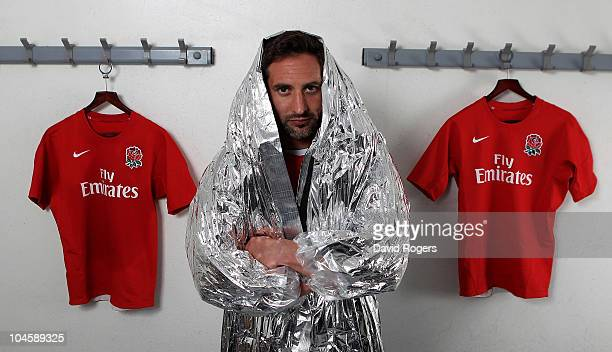 Ben Gollings, captain of the England Commonwealth Games Rugby Sevens team, poses in a silver warm-up suit at the Lensbury Club on October 1, 2010 in...