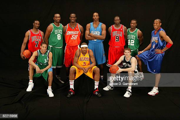 Ben Gordon Al Jefferson Emeka Okafor Dwight Howard Luol Deng Tony Allen Andre Iguodala Devin Harris Josh Smith and Beno Udrih of the Rookie Team pose...