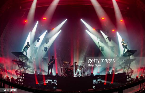 Ben Gordon Luke Kilpatrick Jeff Ling and Jia O'Connor of Parkway Drive perform at Manchester Apollo on January 29 2019 in Manchester England