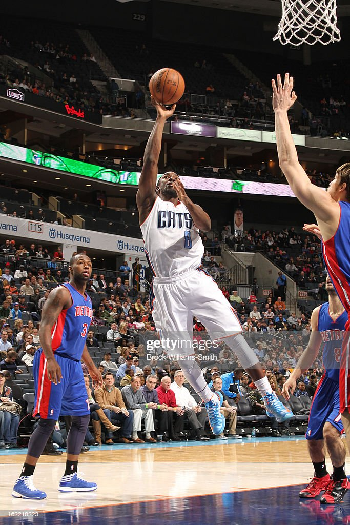 Ben Gordon #8 of the Charlotte Bobcats shoots against the Detroit Pistons at the Time Warner Cable Arena on February 20, 2013 in Charlotte, North Carolina.