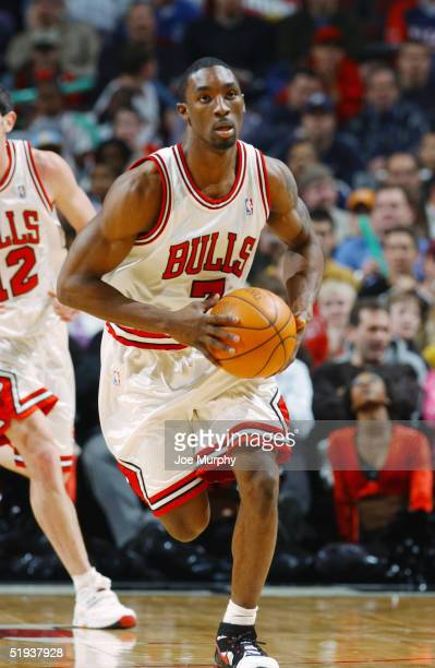 Ben Gordon of the Chicago Bulls brings the ball upcourt during the game against the Portland TrailBlazers at the United Center on December 20, 2004...