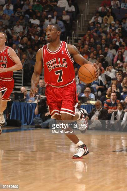 Ben Gordon of the Chicago Bulls dribbles upcourt against the Washington Wizards during the game on April 13th 2005 at the MCI Center in Washington DC...