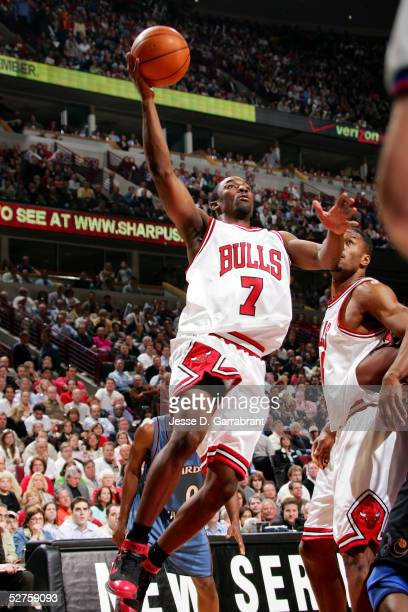 Ben Gordon of the Chicago Bulls drives to the basket during against the Washington Wizards in Game five of the Eastern Conference Quarterfinals...