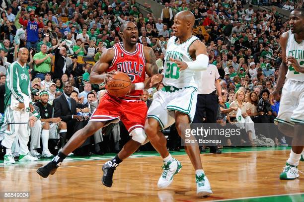 Ben Gordon of the Chicago Bulls goes up against Ray Allen of the Boston Celtics in Game Seven of the Eastern Conference Quarterfinals during the 2009...