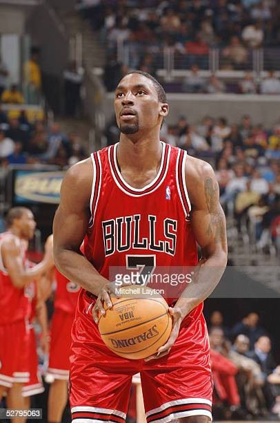 Ben Gordon of the Chicago Bulls shoots a free throw against the Washington Wizards in Game three of the Eastern Conference Quarterfinals during the...