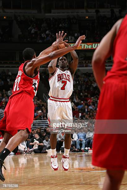 Ben Gordon of the Chicago Bulls shoots a jump shot over LaMarcus Aldridge of the Portland Trail Blazers at the United Center January 3 2008 in...