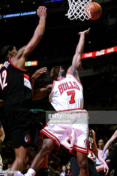 Ben Gordon of the Chicago Bulls shoots against LaMarcus Aldridge of the Portland Trail Blazers on January 12 2009 at the United Center in Chicago...