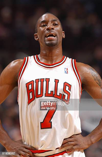 Ben Gordon of the Chicago Bulls stands on the court during the game against the Portland TrailBlazers at the United Center on December 20, 2004 in...