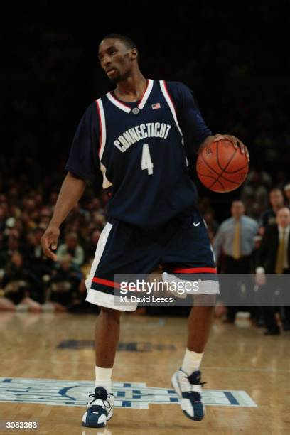Ben Gordon of the Connecticut Huskies dribbles against the Pittsburgh Panthers during the Big East Men's Basketball Championship final game March 13...