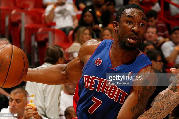 Ben Gordon of the Detroit Pistons drives against the Miami Heat on April 9 2010 at American Airlines Arena in Miami Florida NOTE TO USER User...