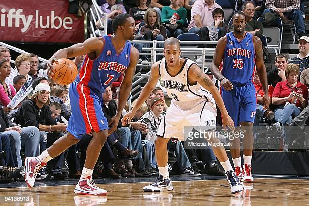 Ben Gordon of the Detroit Pistons drives the ball against Eric Maynor of the Utah Jazz during the game on November 21 2009 at EnergySolutions Arena...