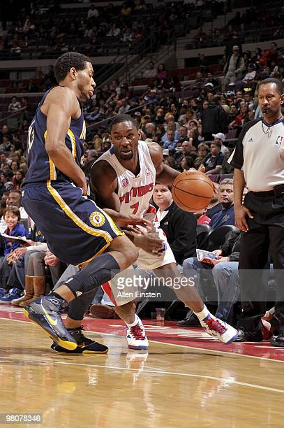 Ben Gordon of the Detroit Pistons drives the ball up court against Danny Granger of the Indiana Pacers during the game at the Palace of Auburn Hills...