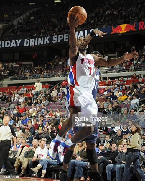 Ben Gordon of the Detroit Pistons drives to the basket during a game against the Charlotte Bobcats on November 5 2010 at The Palace of Auburn Hills...