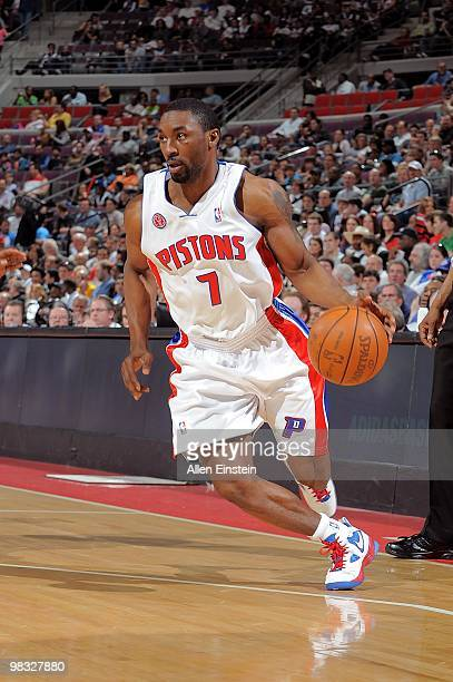 Ben Gordon of the Detroit Pistons handles the ball against the Miami Heat during the game on March 31 2010 at The Palace of Auburn Hills in Auburn...